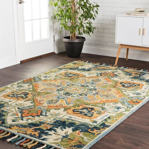 "Hand-hooked Blue/ Green Medallion Wool Area Rug with Fringe - 9'3"" x 13'"