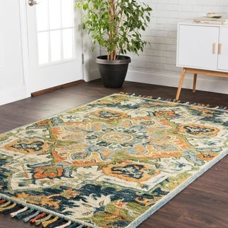"""Hand-hooked Blue/ Green Medallion Wool Area Rug with Fringe - 9'3"""" x 13'"""