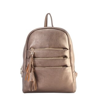 Diophy Front Three Zippered Pockets Chic Backpack