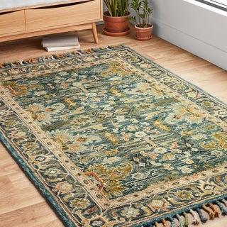 """Hand-hooked Blue/ Green Traditional Wool Rug with Fringe - 9'3"""" x 13'"""