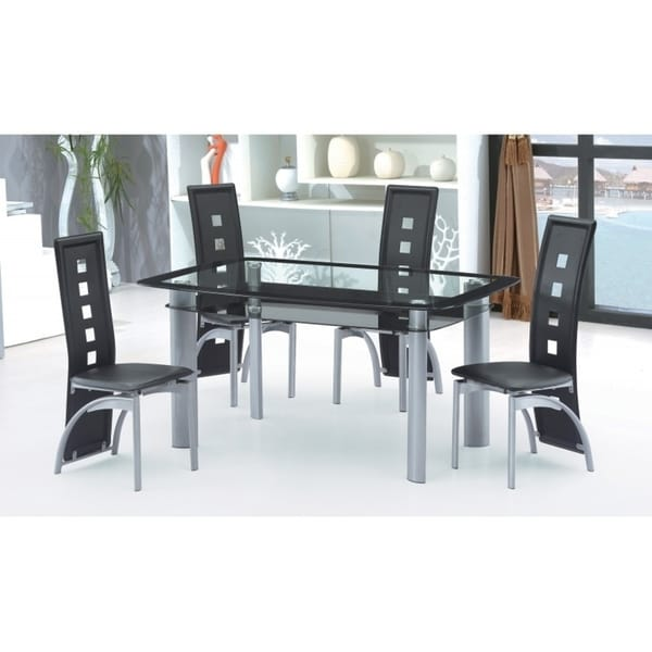 Charmant Best Quality Furniture Modern 5 Piece Glass Table Top Dining Set