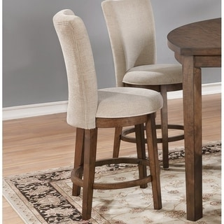 Best Quality Furniture Weathered Oak and Linen Upholstered Dining Side Chair (Set of 2)