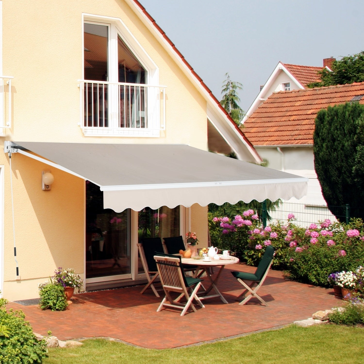 "Outsunny 152"" Manual Retractable Patio Sun Shade Awning, ..."