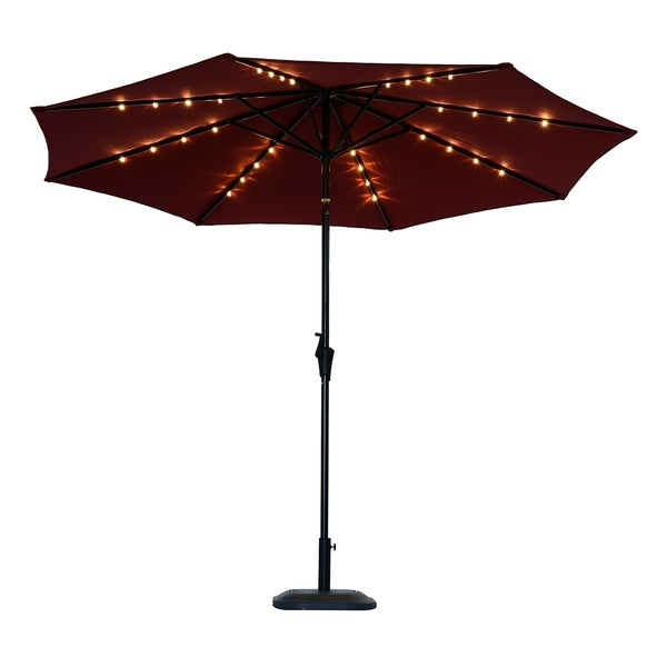 Led Patio Umbrella Reviews: Shop Outsunny 10' Solar Powered LED Lit Market Patio