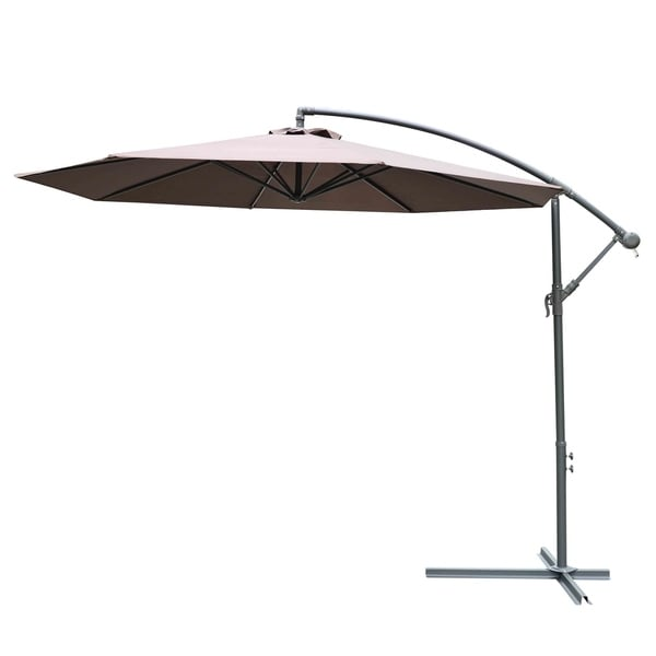 Outsunny 10u0026#x27; Steel Hanging Offset Patio Umbrella With Stand