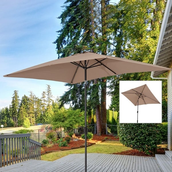 Shop Outsunny 65 X 10 Market Rectangle Patio Umbrella W Tilt And
