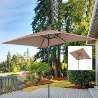 Outsunny 6.5' x 10' Market Rectangle Patio Umbrella w/ Tilt and Crank