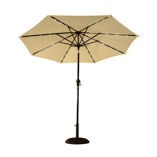 Led Patio Umbrella Reviews: Shop Outsunny 8.5' Solar LED Market Patio Umbrella