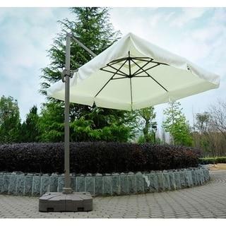 Outsunny White Fabric 10-foot Offset Tilt Patio Umbrella Sun Shade with Base