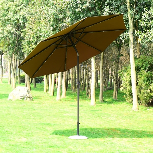 Led Patio Umbrella Reviews: Shop Outsunny 9' Solar Multi-Color LED Market Patio