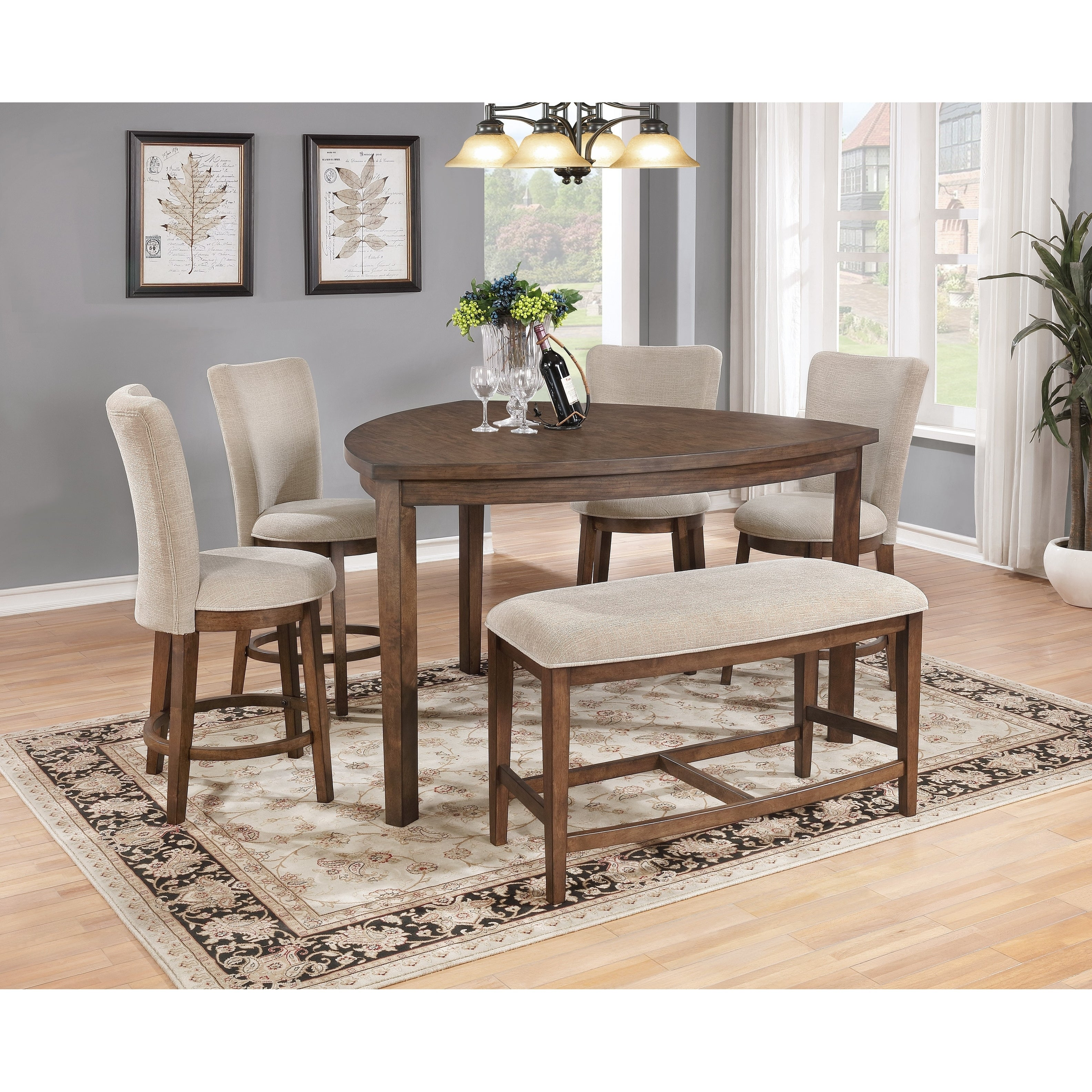 Picture of: Best Quality Furniture 6 Piece Pecan Counter Height Dining Table Set With Bench Overstock 17965280