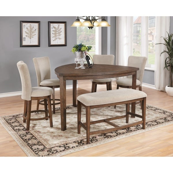 Shop Best Quality Furniture 6 Piece Pecan Counter Height