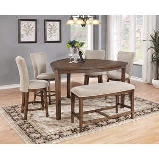 Best Quality Furniture 6 Piece Weathered Oak Counter Height Dining Table Set  With Bench