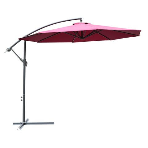 Outsunny 10' Cantilever Hanging Tilt Offset Patio Umbrella with UV & Water Fighting Material & Included Base - Wine Red