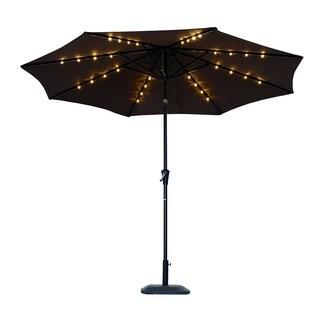 Outsunny 10' Solar Powered LED Lit Market Patio Umbrella