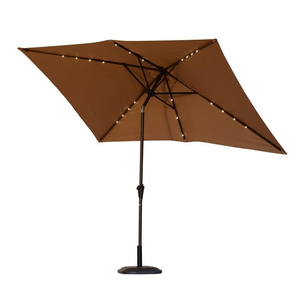Led Patio Umbrella Reviews: Shop Outsunny 6.5' X 10' Rectangle Solar Powered LED Lit