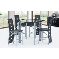 Best Quality Furniture Modern 5-piece Counter Height Glass Table Top Dining Set