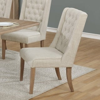 Best Quality Furniture Beige or Gray Linen Upholstered Dining Side Chair