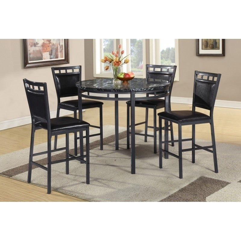 Best Quality Furniture 5-piece Round Counter Height Faux ...