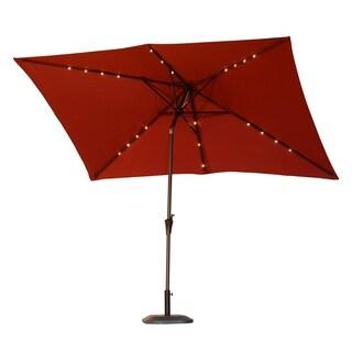 Outsunny 6.5' x 10' Rectangle Solar Powered LED Lit Patio Umbrella