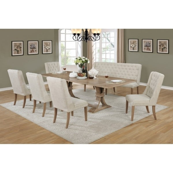 shop best quality furniture rustic beige extension dining set free rh overstock com top quality dining room chairs quality dining room chair covers