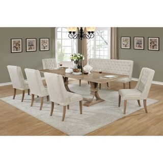 Best Quality Furniture Rustic Beige Extension Dining Set