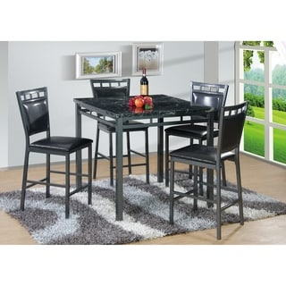 Best Quality Furniture 5-piece Square Counter Height Faux Marble Table Top Dining Set