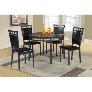 Best Quality Furniture 5-piece Round Faux Marble Table Top Dining Set