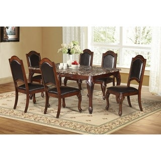 Best Quality Furniture 7-piece Faux Marble Table Top Cherry Dining Set