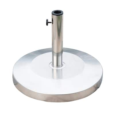 """Outsunny 19"""" Round 55lb Stainless Steel Patio Umbrella Stand Base"""