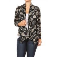 Women's Plus Size Abstract Pattern Draped Cardigan