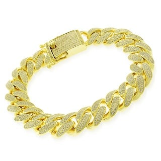 """Sterling Silver 14mm Miami Cuban Link CZ Iced Out Solid 925 Yellow Gold Plated Bling Bracelet 9"""""""