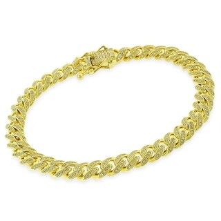 """Sterling Silver 8.5mm Miami Cuban Link CZ Iced Out Solid 925 Yellow Gold Plated Bling Bracelet 9"""""""