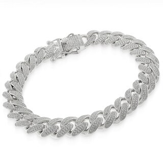 Sterling Silver 12mm Miami Cuban Link CZ Iced Out Solid 925 Rhodium Bling Bracelet 9""