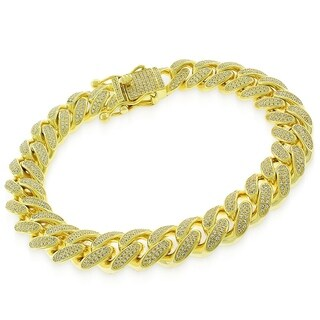 """Sterling Silver 12mm Miami Cuban Link CZ Iced Out Solid 925 Yellow Gold Plated Bling Bracelet 9"""""""