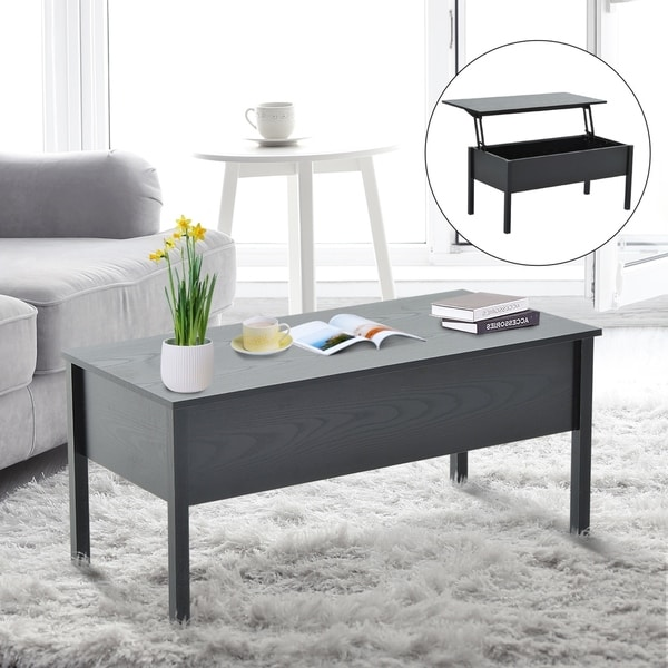 Lift Top Coffee Table Black.Homcom Lift Top Coffee Storage Table Black