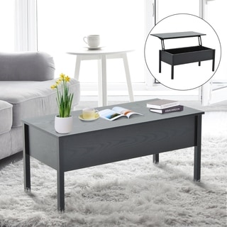 HomCom Lift Top Coffee Storage Table - Black