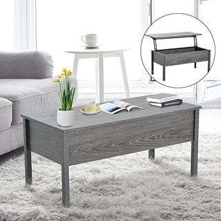 HomCom Lift Top Coffee Storage Table - Grey