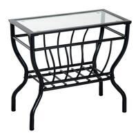 HomCom Metal Magazine Rack End Table w/ Glass Top - Clear Glass Top