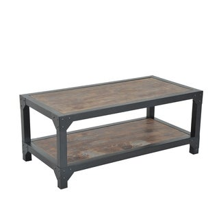 HomCom Rustic Brown Wood Industrial Style Coffee Table With Black Metal  Frame