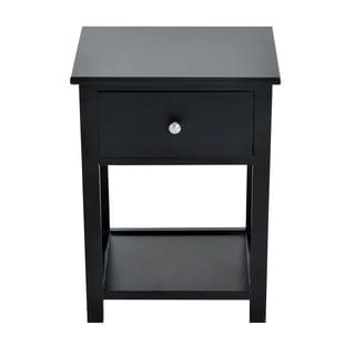 HomCom X-sided Black Wood End Table/ Nightstand With Drawer