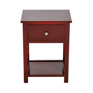HomCom X-side Brown Finish Wood End Table Nightstand with Drawer
