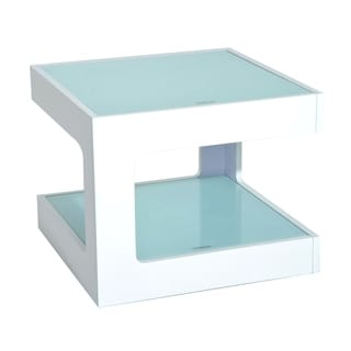 HomCom Modern White-finished Wood 2-tier Cube Accent End Table With Tempered Glass Top