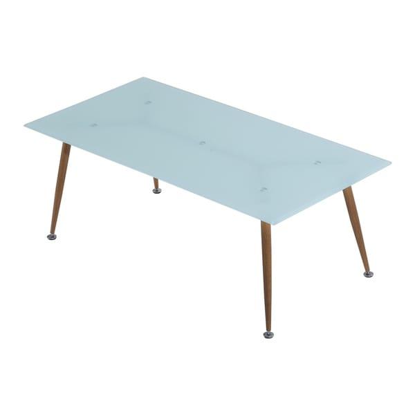 HomCom Tempered Glass, Wood, and Steel Mid-century Modern Retro Coffee Table