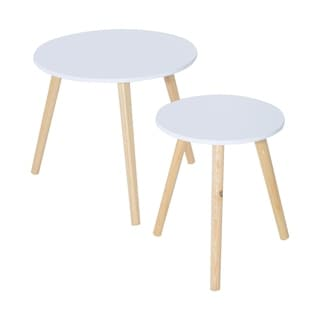 HomCom White Finish Top Natural Wood Legs Round Accent Side Table 2-piece Set