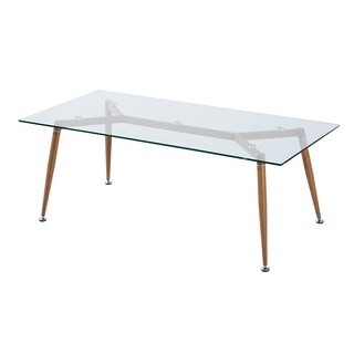 HomCom Brown/Clear Tempered Glass/Wood/Steel Mid-Century Modern Retro Coffee Table