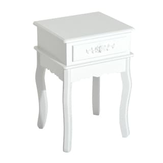 HomCom White Wood 24-inch 1-drawer End Table