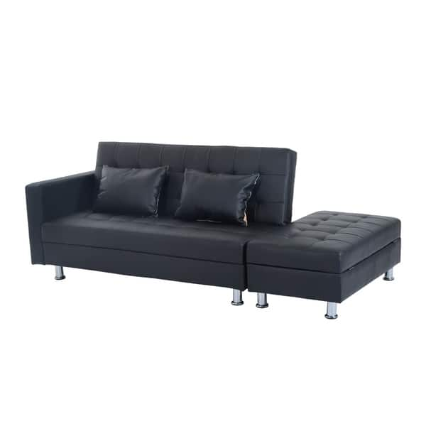 Shop HomCom Faux Leather Convertible Sofa Sleeper Bed w ...