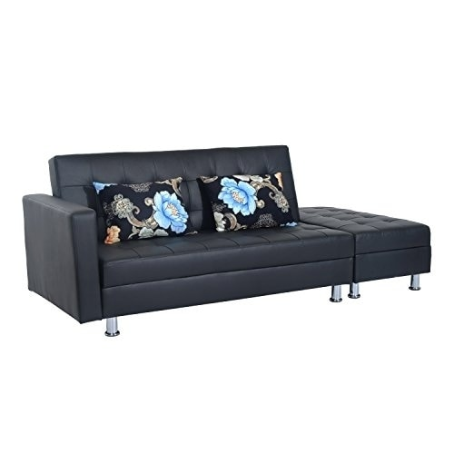 Shop HomCom Faux Leather Convertible Sofa Sleeper Bed w/Storage ...