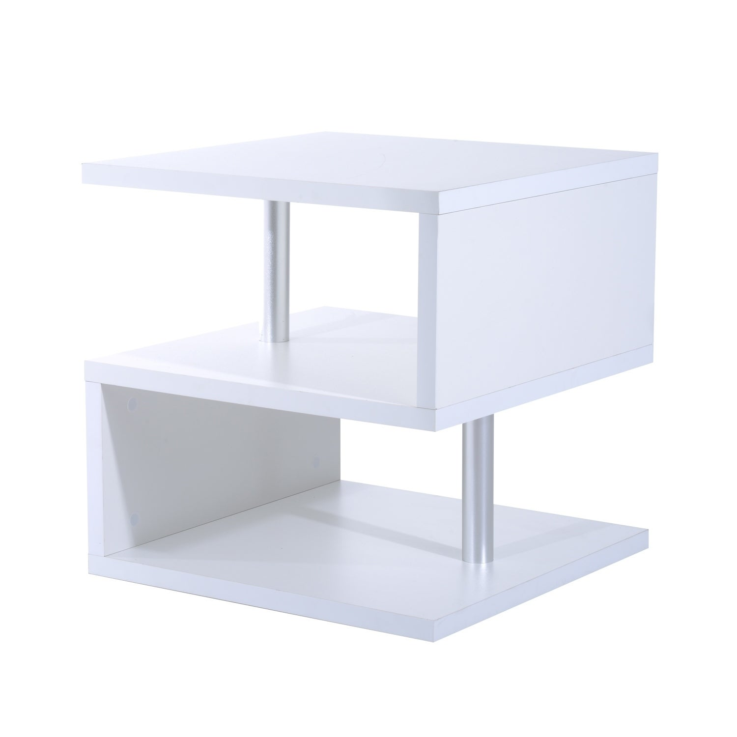 White modern contemporary multi level s shaped end table accent white modern contemporary multi level s shaped end table accent side geotapseo Gallery